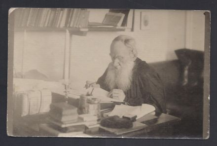 Count Leo Tolstoy Working at His Desk at Yasnaya Polyana Unpublished Photograph